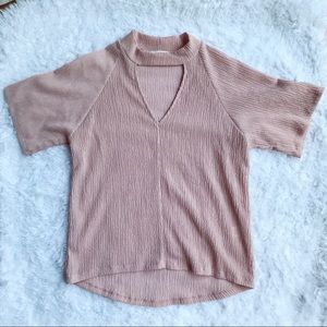 Everly Blouse Textured Dusty Rose Keyhole Size S